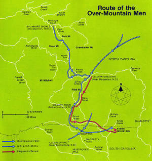 Route of the Over-Mountain Men